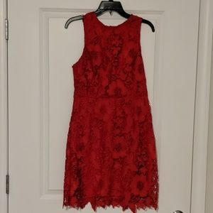 Kensie- Lace Dress-Red